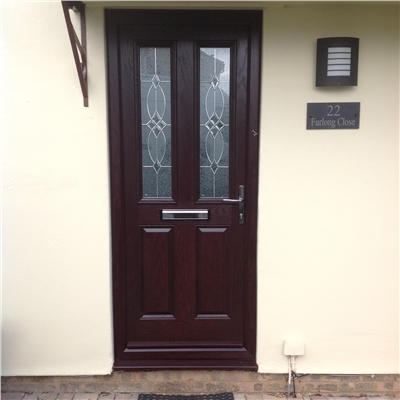 The Cardiff Composite Door in Rosewood with Flair Glazing