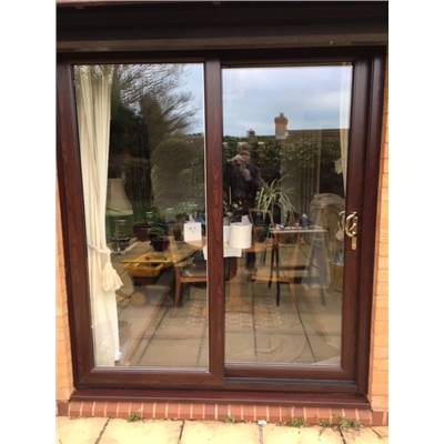 In-Line Sliding Patio Doors in Rosewood