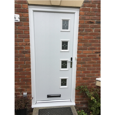 The Preston Composite Door in White with Flair Glazing