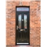 The Birmingham Composite Door in Black with Red Crystal Harmony and matching Toplight