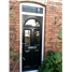 The Glasgow Composite Door in Black with Clear Glazing and Toplight