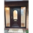 Epsom Cullingworth Bevel Border uPVC Door in Rosewood with two Sidelights