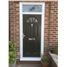 The Jamestown Composite Door in Black with Clear Glazing and Bespoke Glass Toplight