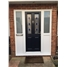 The Cardiff Composite Door in Black with Blue Diamonds with two sidelights