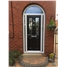 The Cardiff Composite Door in Black with Black Diamonds with side lights and arched top light