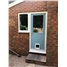 The Newfarn Composite Door in Duck Egg Blue with Flag Window and Cat Flap