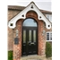 The Cardiff Composite Door in Black with Crystal Diamond in an Arched Frame