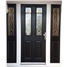 The Cardiff Composite Door in Black with Brass Art Clarity and matching Side Panels