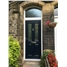 The Cardiff Composite Door in Black with Zinc Art Elegance and Toplight in Arched Frame