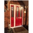 The Cardiff Composite Door in Red with Fleur and Matching Side Panel