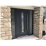 Ultimate Vermont Rockdoor in Anthracite Grey with Glazing and Bar Handle and Two Sidelights