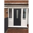 The York Composite Door in Black with Clear Glazing and Two Flag Windows