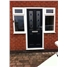The Cardiff Composite Door in Black with Blue Diamonds and Sidelights