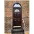 The Derby Composite Door in Rosewood with Red Diamonds in Arched Frame