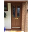 The Cardiff Composite Door in Oak with Bespoke Glass (simplicity/one diamond)