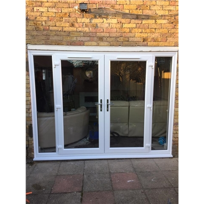 uPVC French Doors in White with Two Sidelights