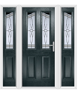 The Birmingham Composite Door in Grey (Anthracite) with Crystal Harmony Frost and matching Side Panels