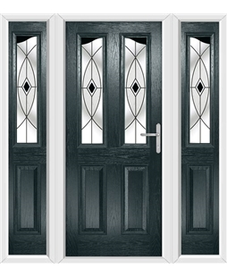 The Birmingham Composite Door in Grey (Anthracite) with Black Fusion Ellipse and matching Side Panels