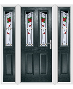 The Birmingham Composite Door in Grey (Anthracite) with English Rose and matching Side Panels