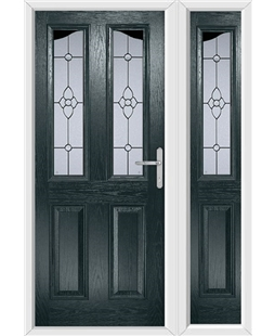 The Birmingham Composite Door in Grey (Anthracite) with Finesse Glazing and matching Side Panel