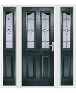The Birmingham Composite Door in Grey (Anthracite) with Finesse Glazing and matching Side Panels