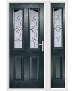 The Birmingham Composite Door in Grey (Anthracite) with Flair Glazing and matching Side Panel