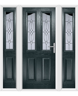 The Birmingham Composite Door in Grey (Anthracite) with Flair Glazing and matching Side Panels