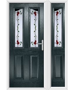 The Birmingham Composite Door in Grey (Anthracite) with Mackintosh Rose and matching Side Panel