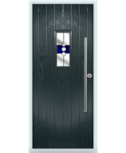 The Zetland Composite Door in Grey (Anthracite) with Blue Crystal Bohemia