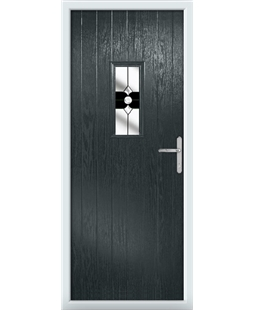 The Taunton Composite Door in Grey (Anthracite) with Black Crystal Bohemia