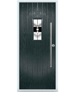 The Zetland Composite Door in Grey (Anthracite) with Black Crystal Bohemia