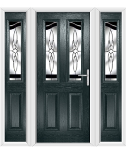 The Birmingham Composite Door in Grey (Anthracite) with Black Crystal Harmony and matching Side Panels