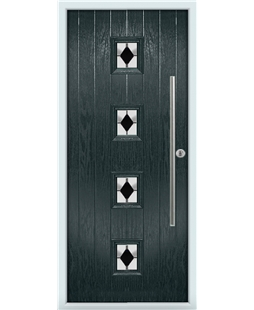 The Leicester Composite Door in Grey (Anthracite) with Black Diamonds