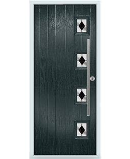 The Norwich Composite Door in Grey (Anthracite) with Black Diamonds