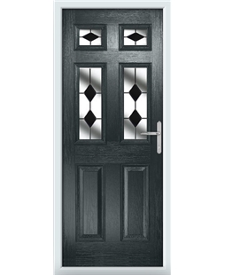 The Oxford Composite Door in Grey (Anthracite) with Black Diamonds