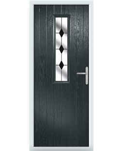 The Sheffield Composite Door in Grey (Anthracite) with Black Diamonds