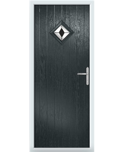 The Reading Composite Door in Grey (Anthracite) with Black Diamonds