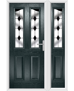 The Birmingham Composite Door in Grey (Anthracite) with Black Diamonds and matching Side Panel