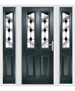 The Birmingham Composite Door in Grey (Anthracite) with Black Diamonds and matching Side Panels