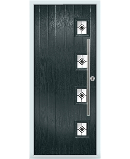 The Norwich Composite Door in Grey (Anthracite) with Black Fusion Ellipse