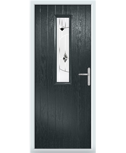 The Sheffield Composite Door in Grey (Anthracite) with Black Murano