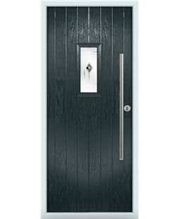 The Zetland Composite Door in Grey (Anthracite) with Black Murano