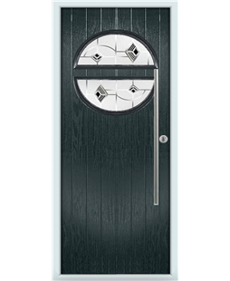 The Xenia Composite Door in Grey (Anthracite) with Black Murano