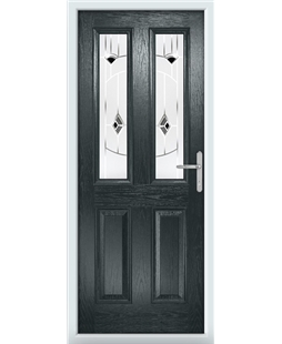 The Cardiff Composite Door in Grey (Anthracite) with Black Murano