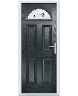 The Derby Composite Door in Grey (Anthracite) with Black Murano