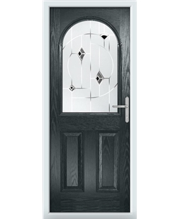 The Edinburgh Composite Door in Grey (Anthracite) with Black Murano
