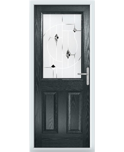The Farnborough Composite Door in Grey (Anthracite) with Black Murano
