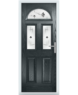 The Glasgow Composite Door in Grey (Anthracite) with Black Murano