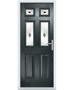 The Oxford Composite Door in Grey (Anthracite) with Black Murano