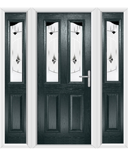 The Birmingham Composite Door in Grey (Anthracite) with Black Murano and matching Side Panels